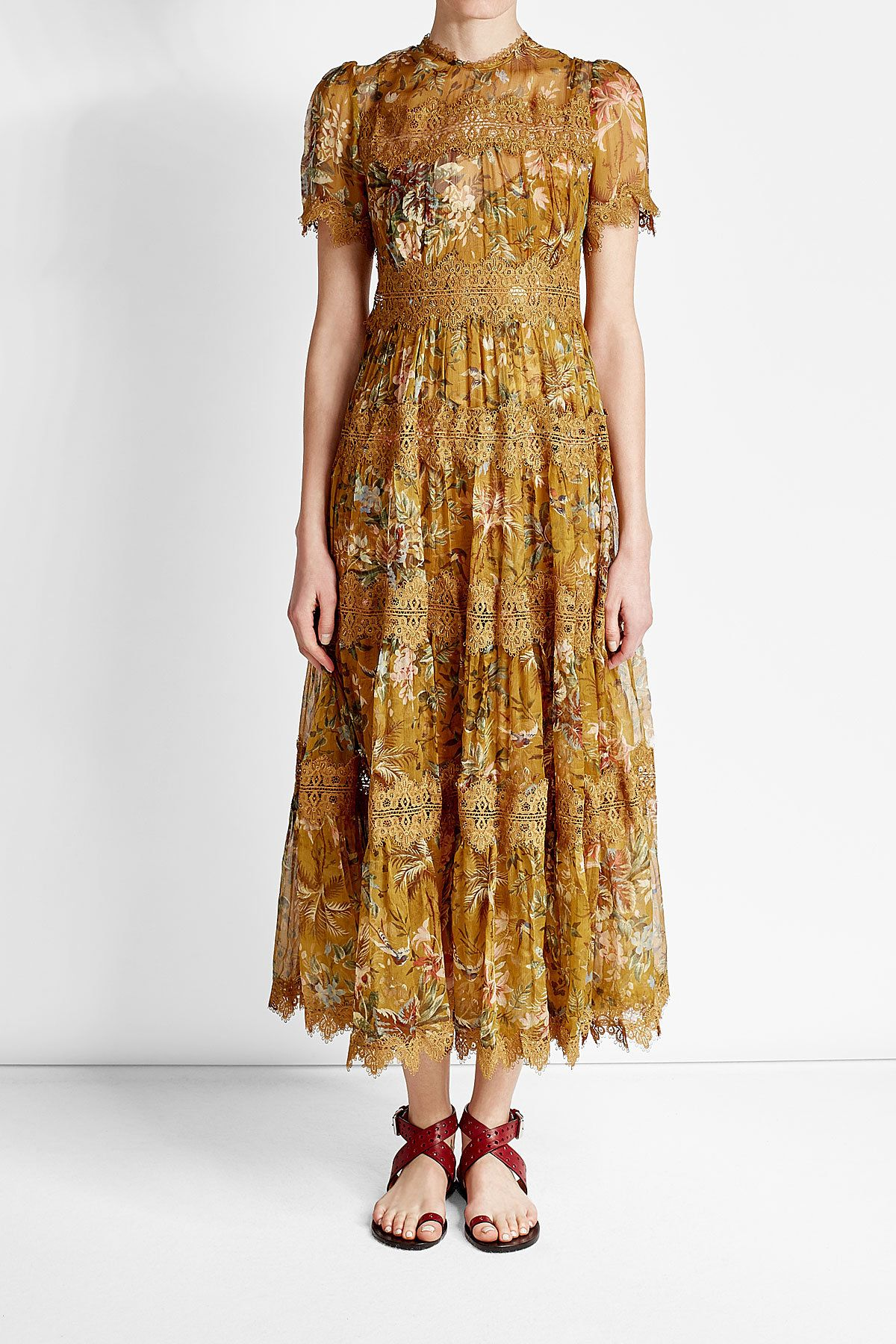 Zimmermann - Silk Maxi Dress with Lace Details | STYLEBOP ...