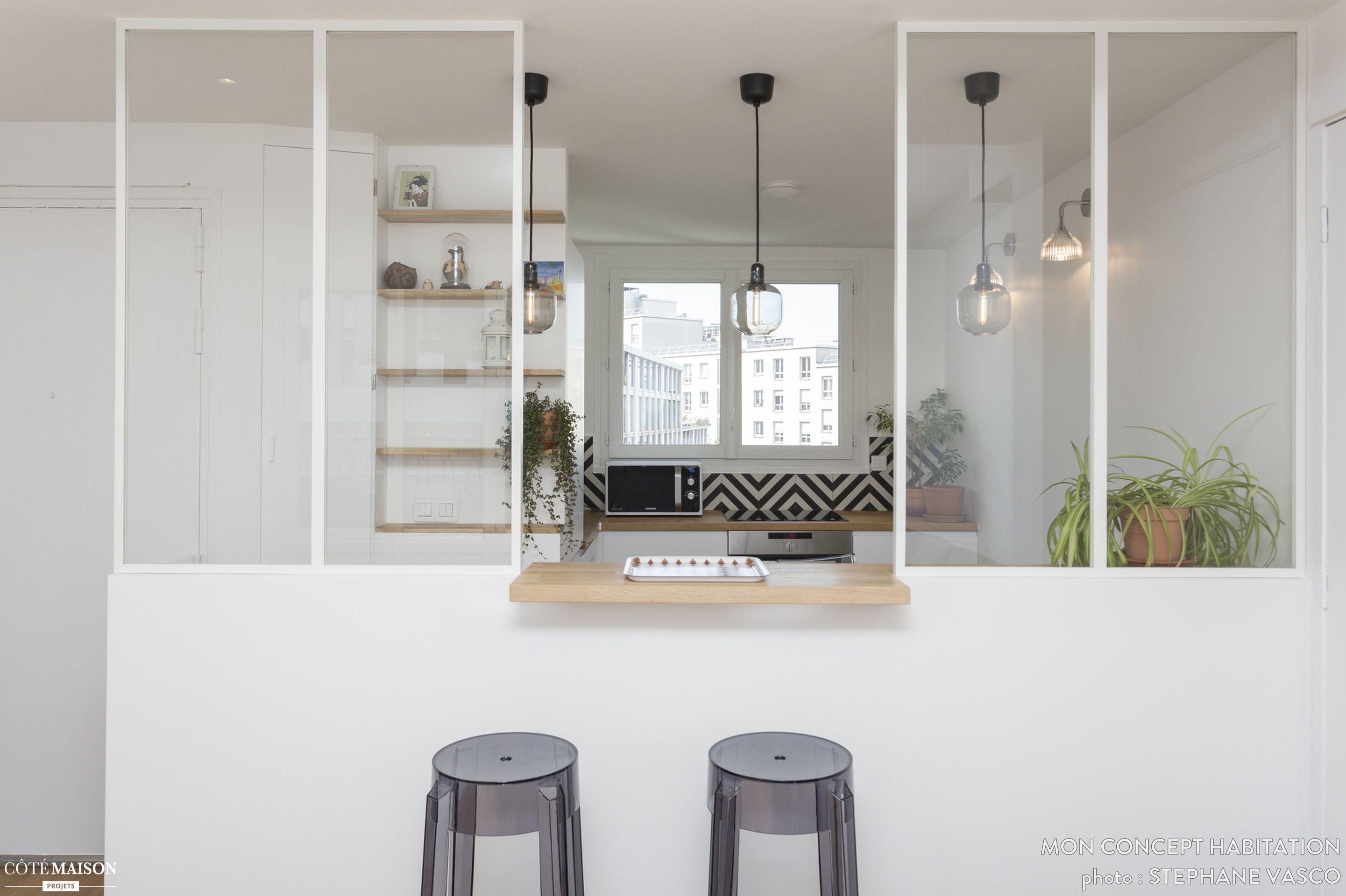 Un Appartement Renove A Paris 19e Mon Concept Habitation Cote Maison Avec Images Appartement Deco Interieure Decoration Interieure