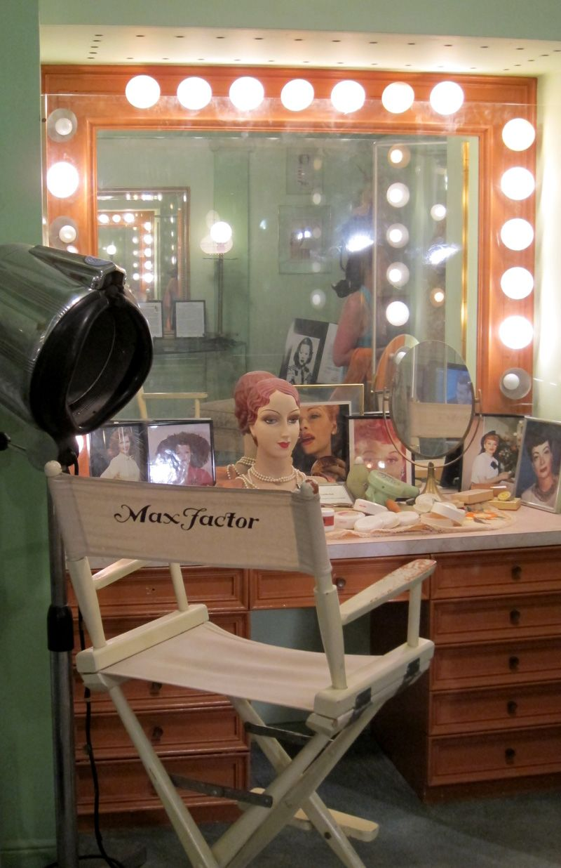 Interior design for the max factor redhead makeup room at