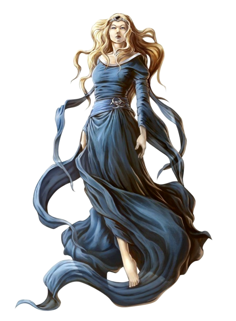 female human wizard in blue robes dark queen in accursed rpg