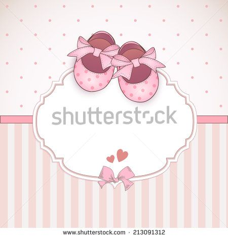 Baby girl shower card. Arrival card with place for your ...
