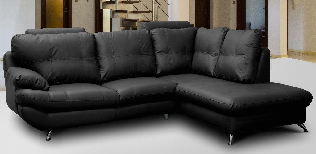 Sandy Corner Suite Black Leather Sofa