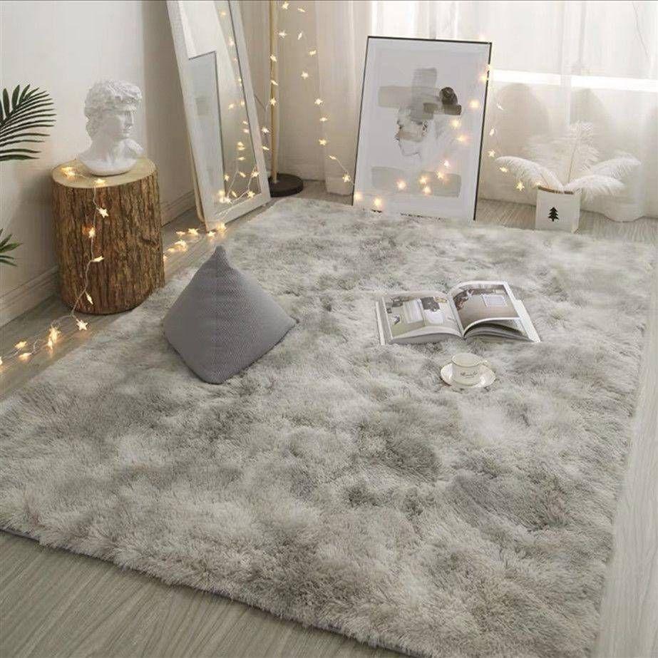 Grey Carpet Tie Dyeing Plush Soft Carpets For Living Room Bedroom Anti Slip Floor Mats Bedroo Zimmer Einrichten Diy Zimmer Gestalten Zimmer Gestalten