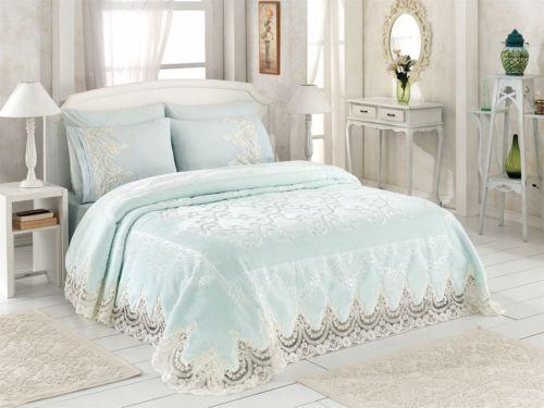6 teilig tagesdecke bettuberwurf 230x245cm decke romantik kuscheldecke wolldecke tagesdecken. Black Bedroom Furniture Sets. Home Design Ideas