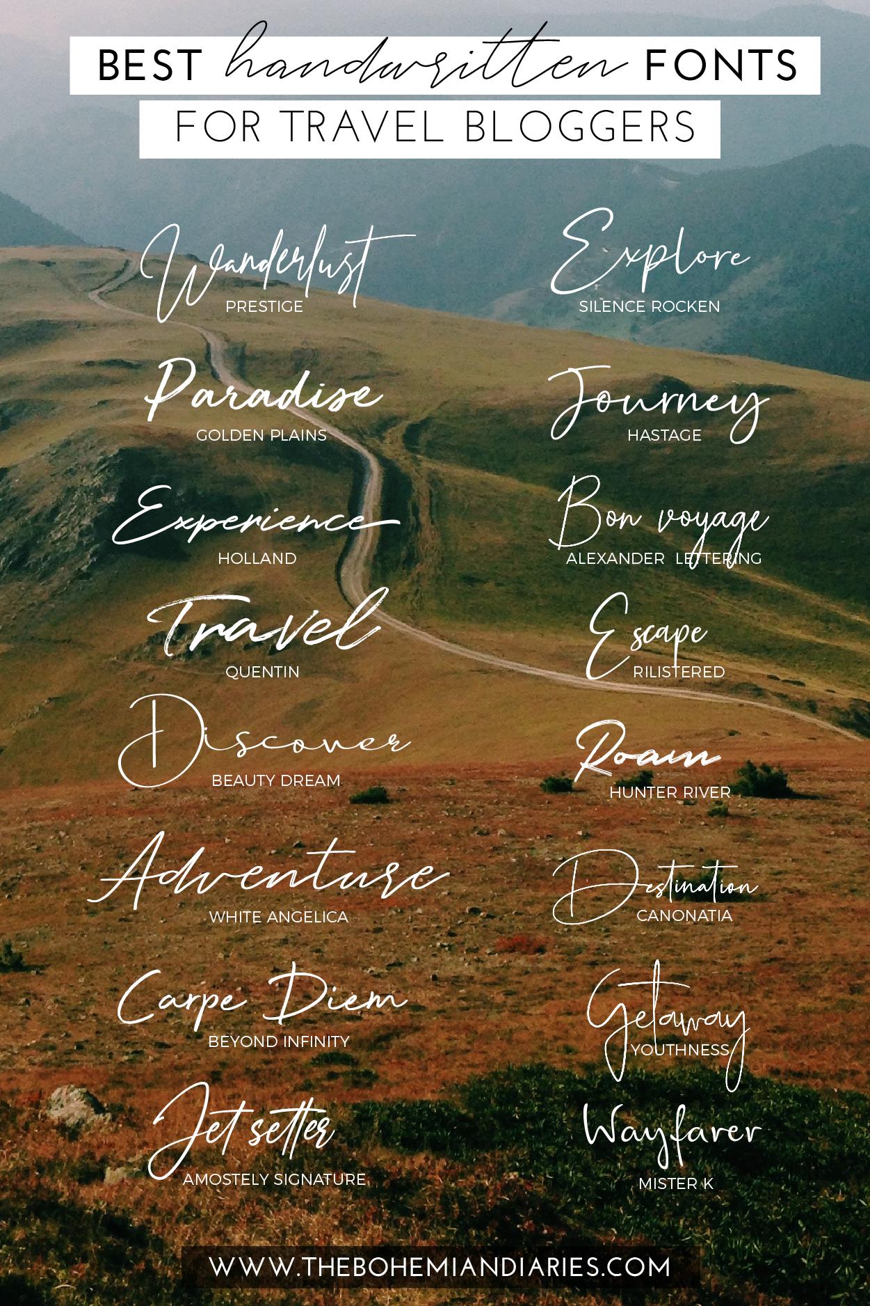 16 Free Handwritten Fonts For Bloggers In 2020 The Bohemian Diaries Handwritten Fonts Lettering Tutorial Fonts Free Handwritten Fonts