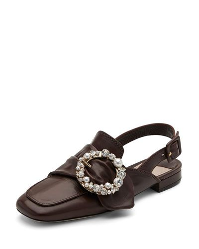 00daff962c0 MIU MIU Pearly-Buckle Leather Slingback Flat.  miumiu  shoes  flats ...