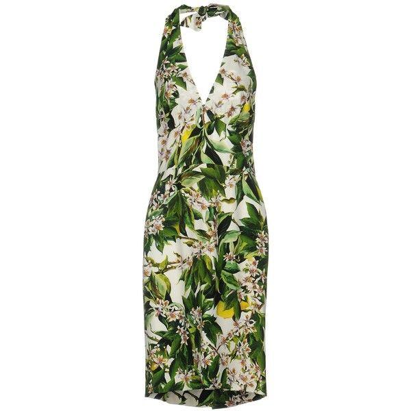 Dolce & Gabbana Knee-length Dress ($1,100) ❤ liked on Polyvore featuring dresses, green, v neck dress, sleeveless floral dress, green knee length dress, flower print dress and green sleeveless dress