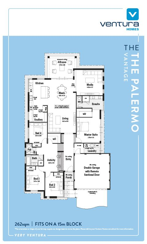 The Palermo Is A Stylish And Functional Display Home Featuring Four Bedrooms Two Bathrooms And A Stunning 15m Frontag Ventura Homes Display Homes House Design