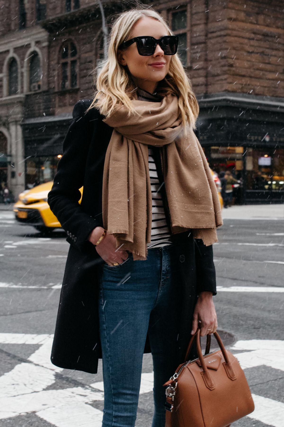 2635fcb562a7 Blonde Woman Wearing Tan Scarf Black Wool Coat Striped Top Denim Skinny  Jeans Givenchy Antigona Satchel Fashion Jackson Dallas Blogger Fashion  Blogger ...