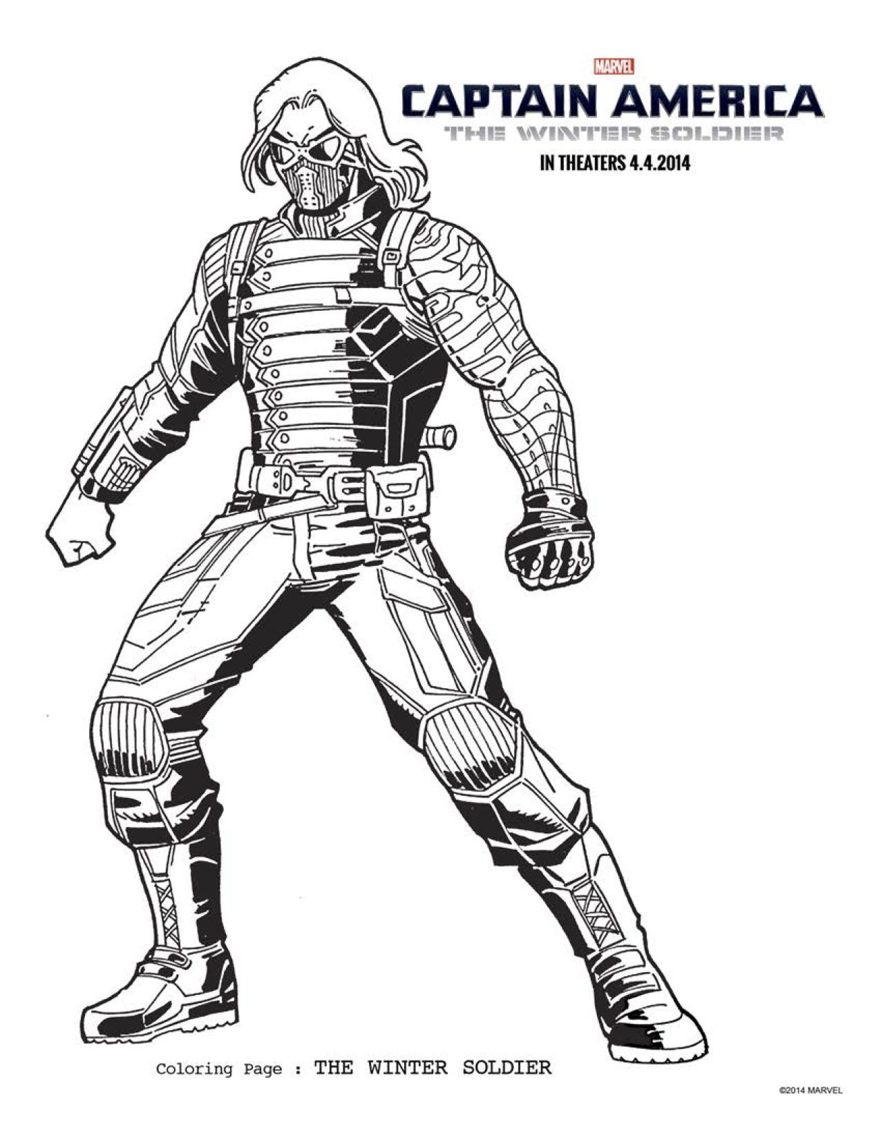 6 captain america the winter soldier coloring sheets to keep everyone occupied until april - Captain America Pictures To Color