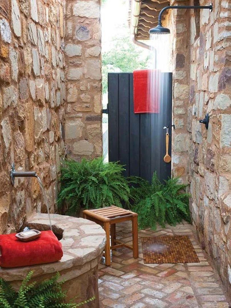 Ducha de piedra decoraci n pinterest duchas al aire for Duchas rusticas piedra