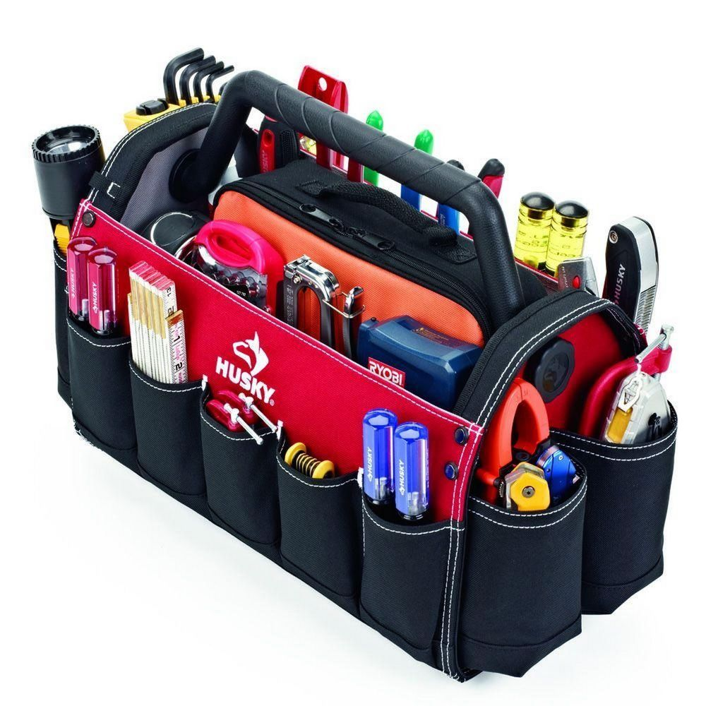 Husky Technicians 17 In Open Top Tool Storage Tote With Rotating