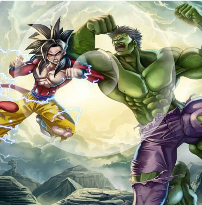 1707ae8655ff1e SS4 Goku vs Hulk - Visit now for 3D Dragon Ball Z shirts now on sale ...