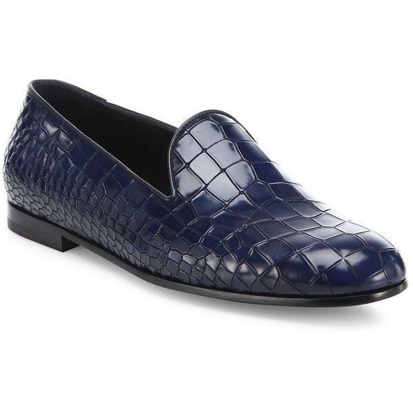 Giorgio Armani Croc-Printed Leather Loafers : Giorgio Armani Shoes (91620  DZD) ❤ liked on Polyvore featuring men's fashion, men's shoes, men's  loafers, ...