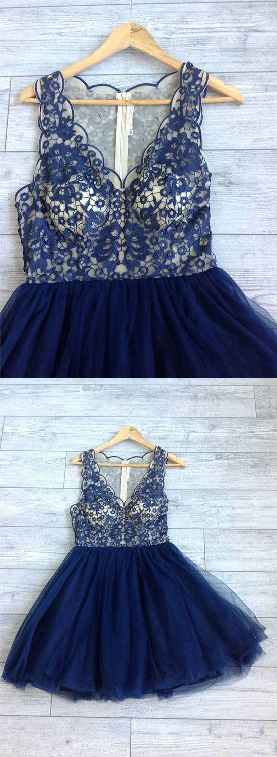 Cute dark blue lace short prom dress lace evening dress dresses