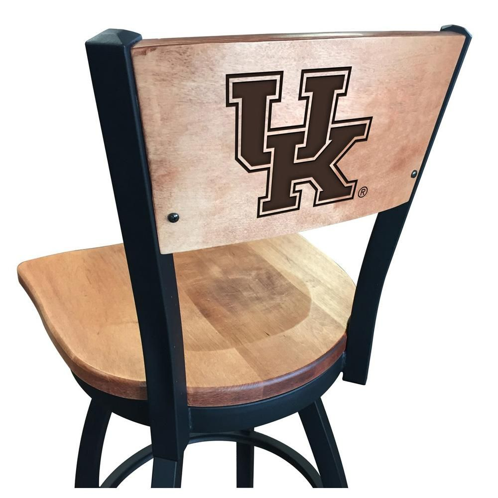 Laser Engraved University Of Kentucky Wildcats Maple Metal Bar Stool