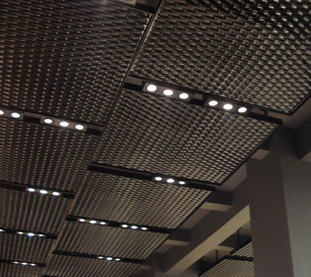 Mesh Ceiling With Integrated Triple Gimble Lighting Ceiling Light Design Architecture Ceiling Lighting Design Interior