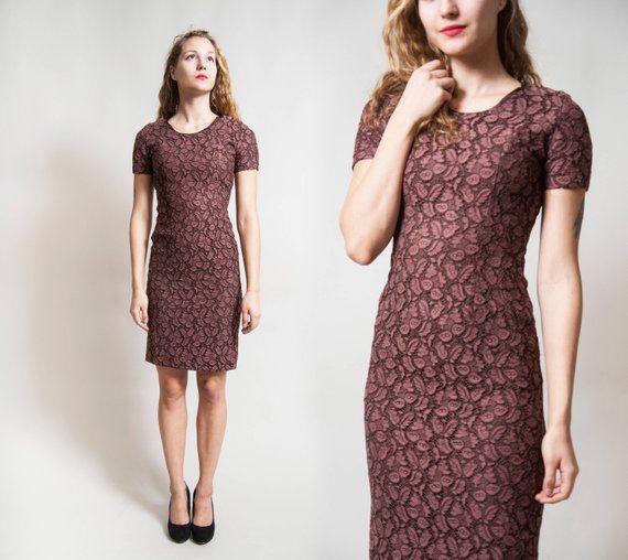 Braunes Kleid / Elegant Kurzarm Spitzenkleid / schlanke ...