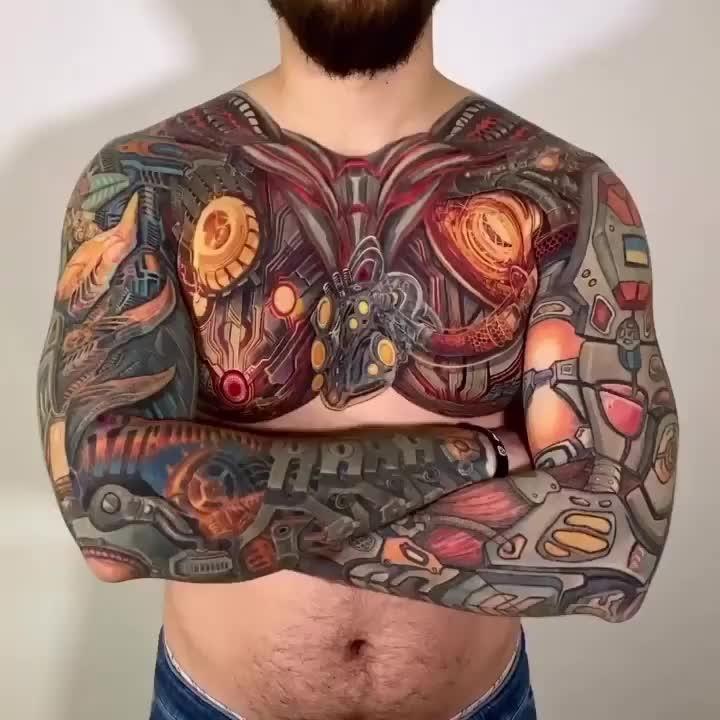 Buntes Full Sleeve Arme und Brust Biomechanical Ro