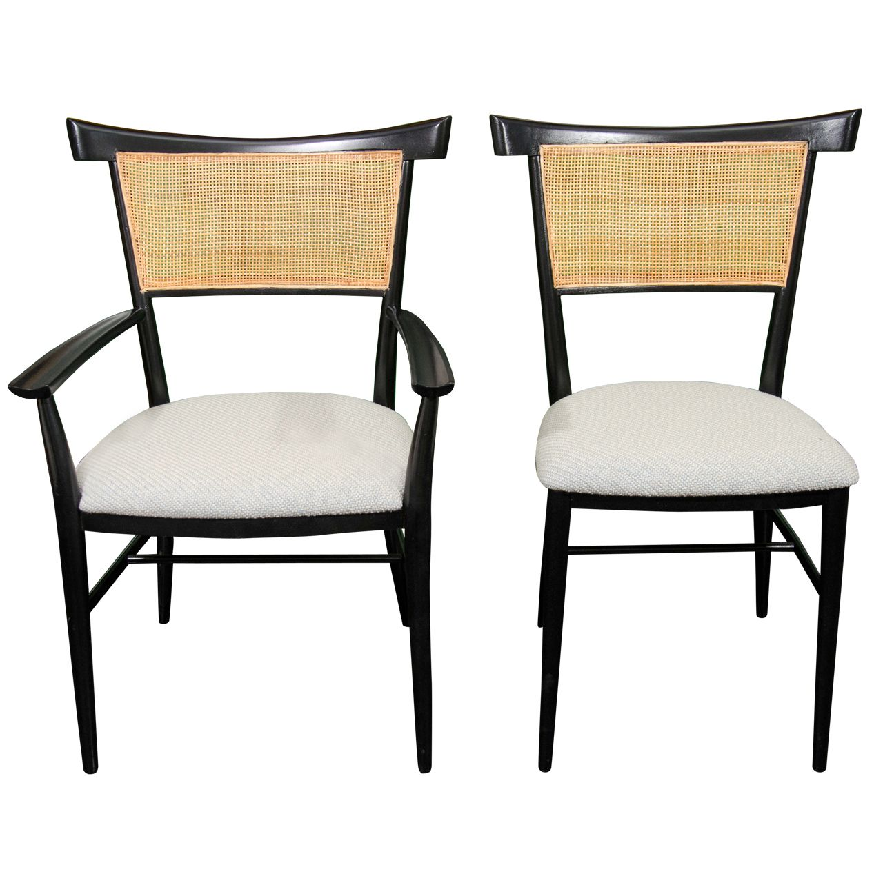 Set Of 6 Black Lacquer And Cane Paul McCobb Dining Chairs
