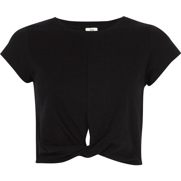 c6ff9445615 River Island Black twist front jersey cropped T-shirt ($32) ❤ liked on Polyvore  featuring tops, t-shirts, river island, black, crop tops & bralets, women,  ...