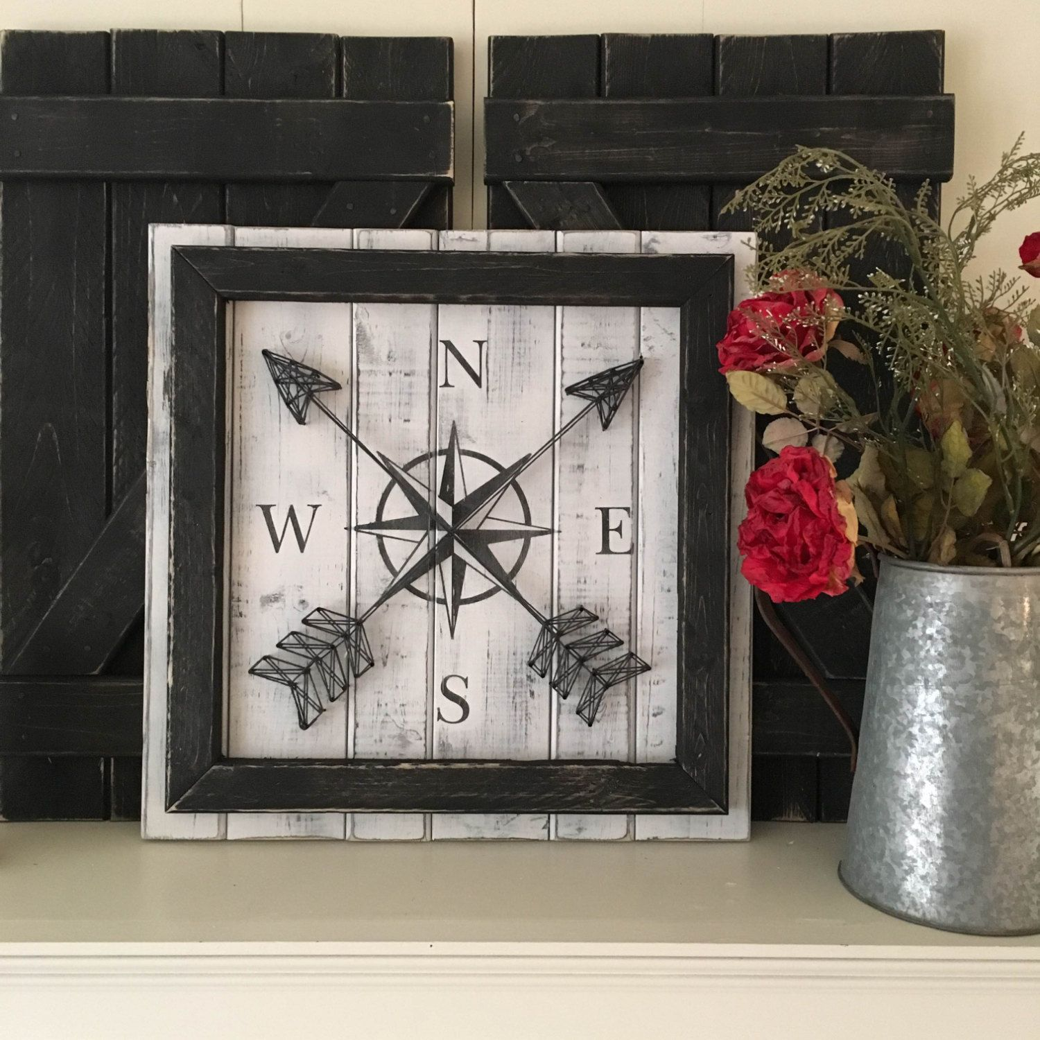 Nautical Wall Decor Compass Decor Rustic Gallery Wall Compass Rose
