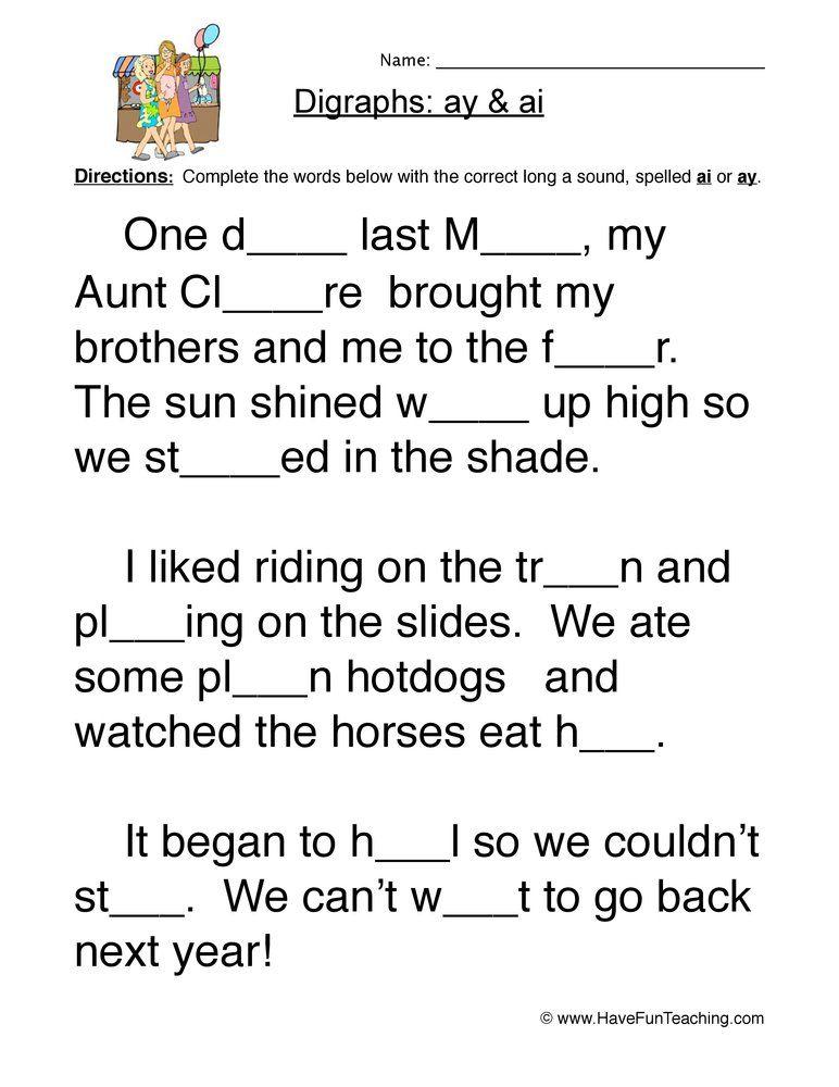 Pin On Og Vowel digraphs worksheets grade