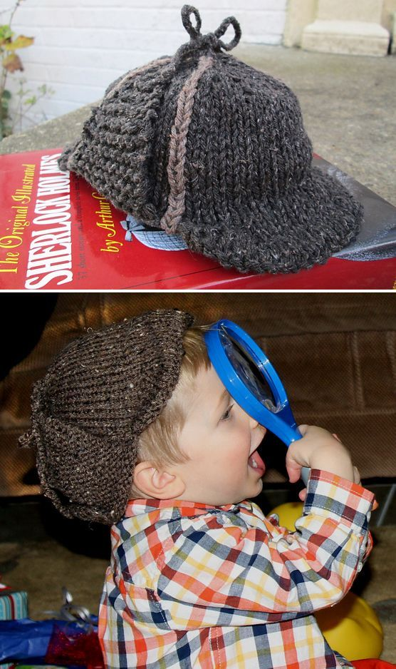 Free Knitting Pattern for Sherlock in Training  Baby s First Deerstalker -  Great photo prop or costume hat! This baby hat features earflaps that tie  up to ... 2492ed26ac1