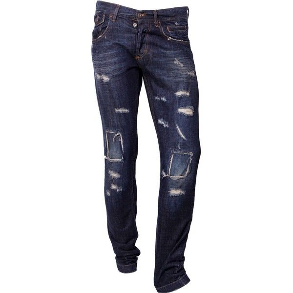 D&G Dark Blue Dirty Wash Slim Leg Jeans ($230) ❤ liked on Polyvore featuring men's fashion, men's clothing, men's jeans, pants, jeans, bottoms, doll parts, guys, mens ripped jeans and mens flap pocket jeans