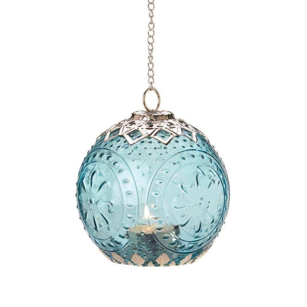 Aquamarine globe hanging filigree candle lantern tealight