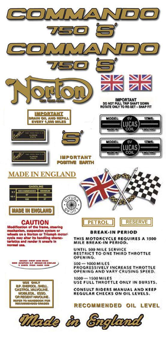 1969 70 750s Restorers Decal Set Norton Commando S Ebay Norton Commando Commando Norton