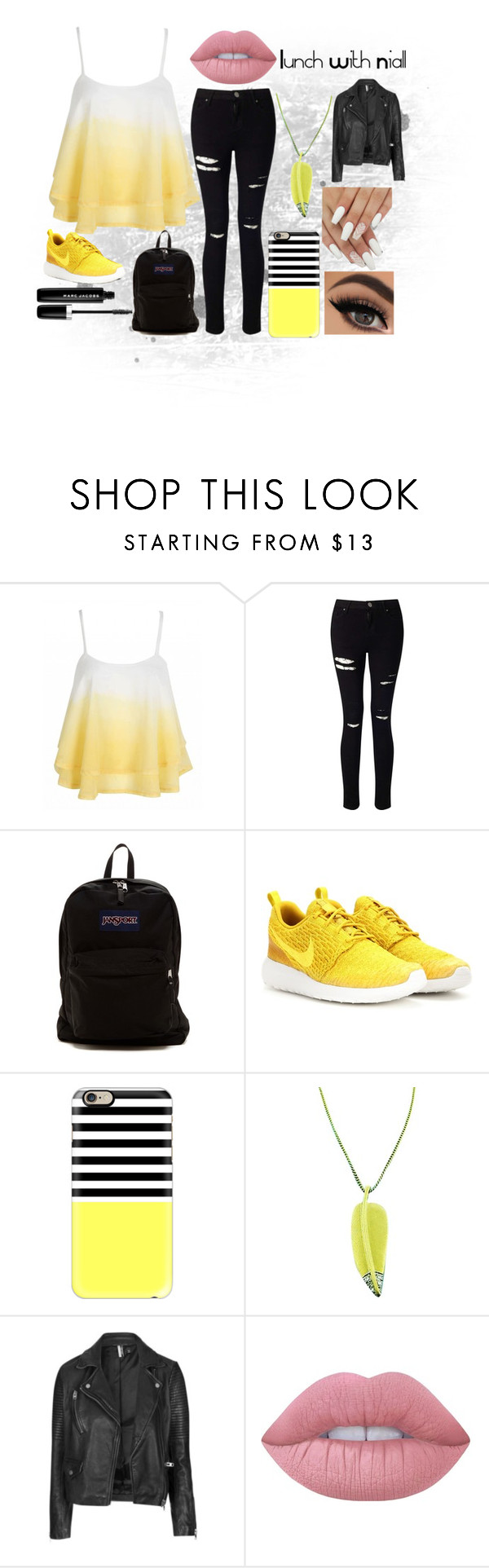 """Lunch With Niall"" by hipopaws on Polyvore featuring Miss Selfridge, JanSport, NIKE, Casetify, Tiffany & Co., Topshop, Lime Crime and Marc Jacobs"