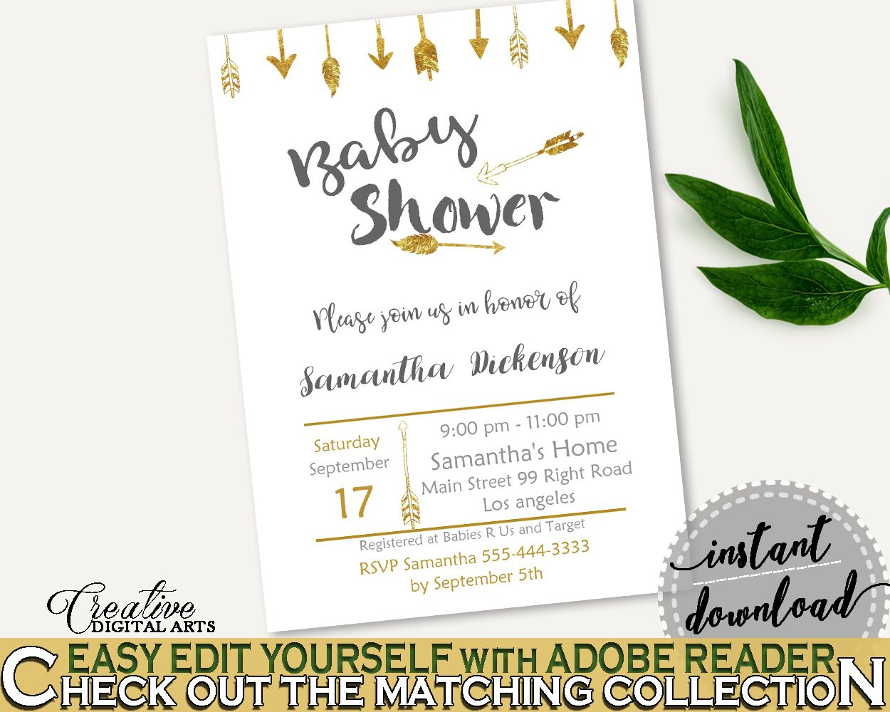 Invitation Baby Shower Invitation Gold Arrows Baby Shower Invitation ...