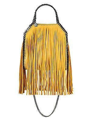 acf71f49c6ca Stella McCartney Falabella Mini Baby Bella Metallic Fringed Faux Suede  Shoulder Bag http