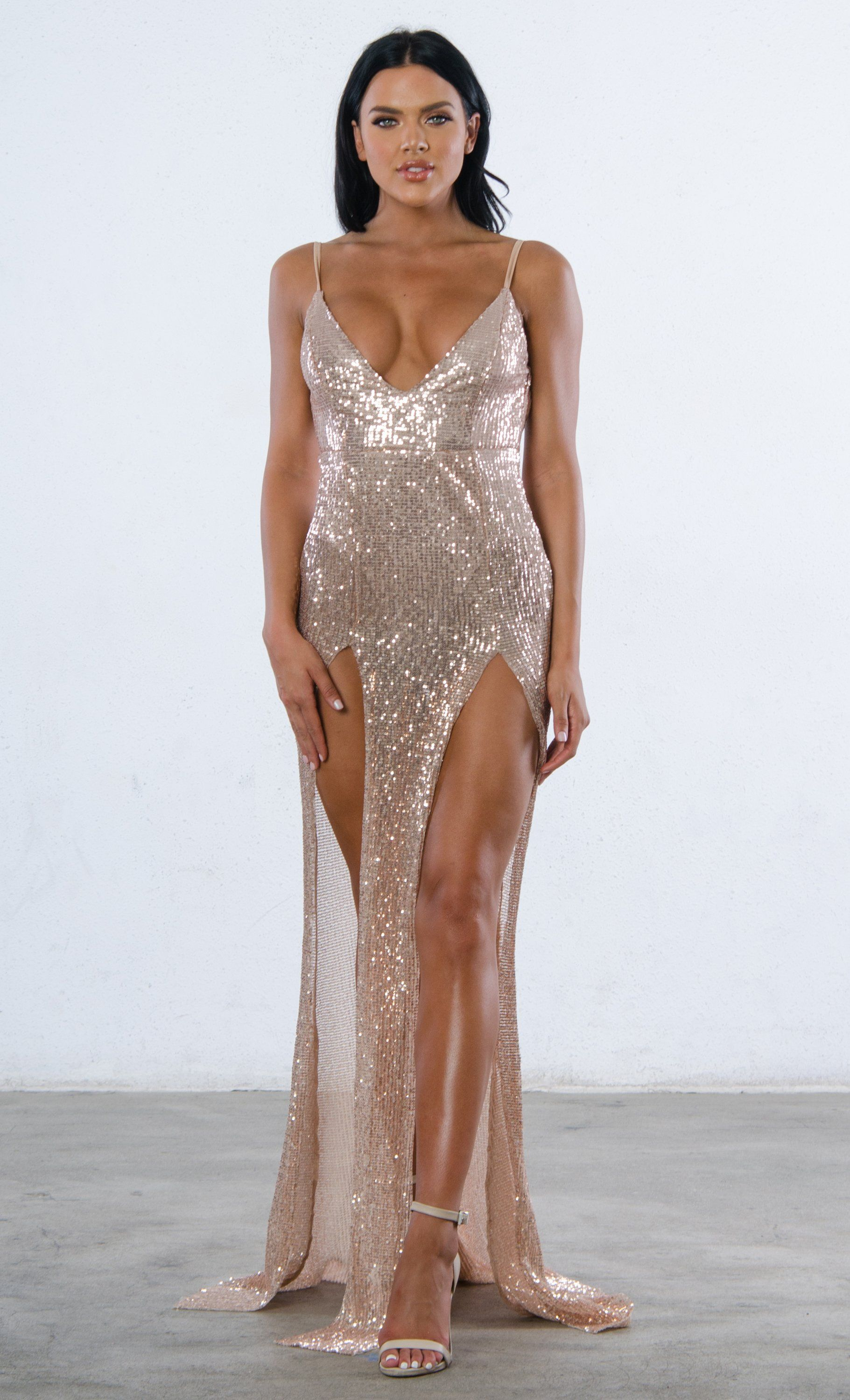 870dcfc1 Mystery Girl Champagne Semi Sheer Sequin Sleeveless Spaghetti Strap ...