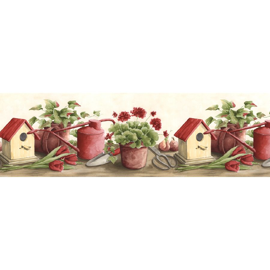 Shop Norwall 9 5 In Red Prepasted Wallpaper Border At Lowes Com Wallpaper Border Kitchen Kitchen Wallpaper Wallpaper Border
