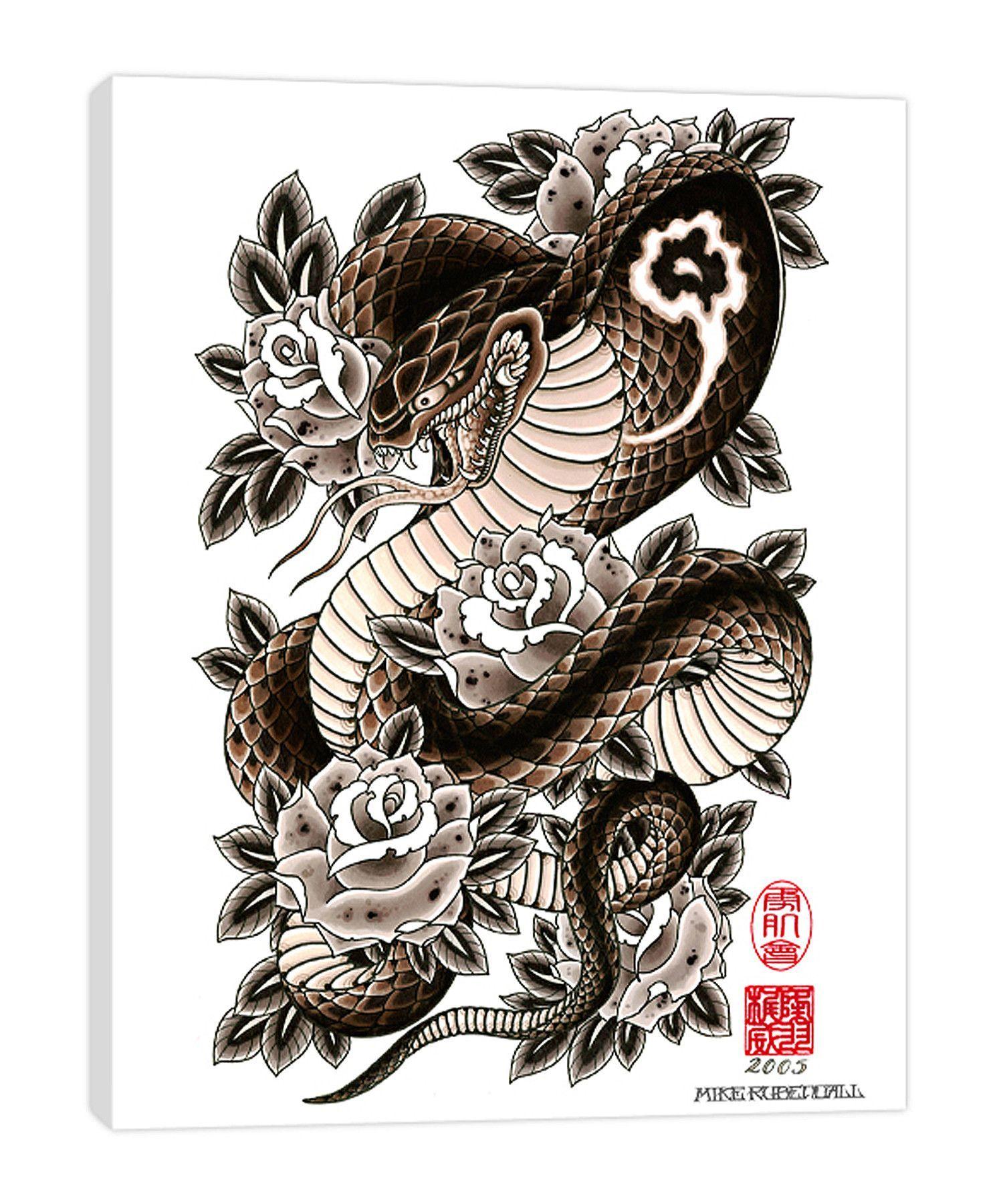 Cobra & Roses Japanese snake tattoo, Snake tattoo, Cobra