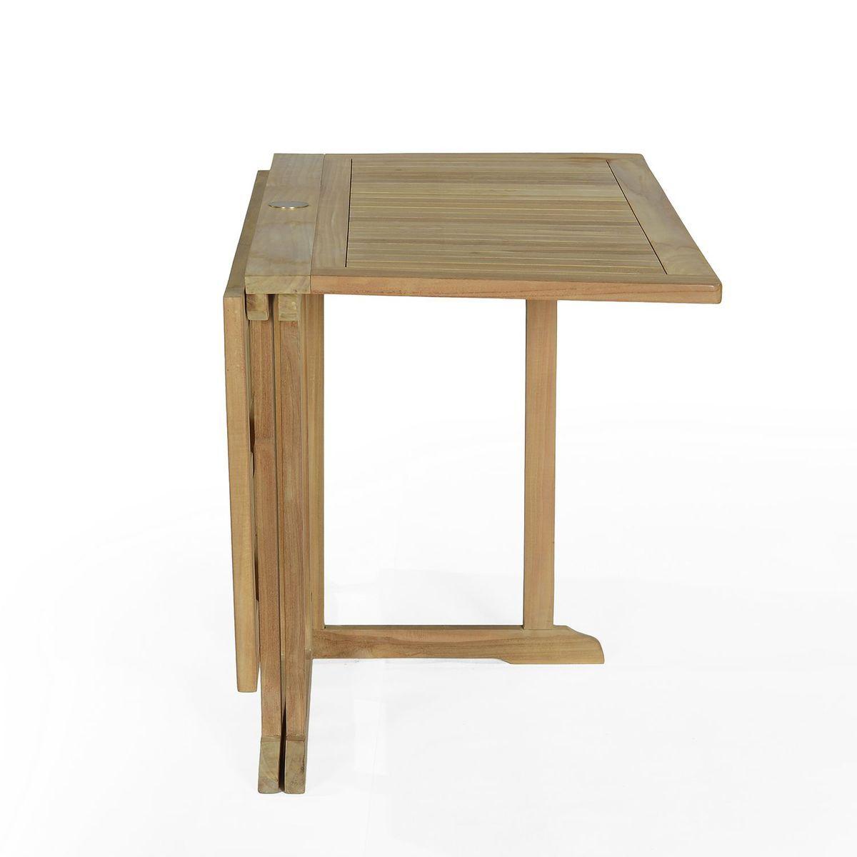 Salon De Jardin En Teck Ecograde Hula, Table Pliante Carrée ...
