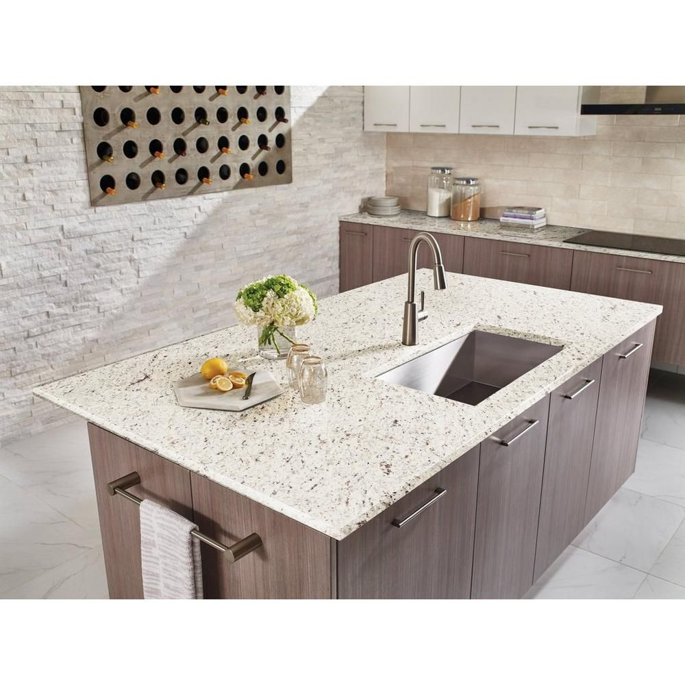 Ready To Install Ornamental White Granite Slab Includes Backsplash In 2020 White Granite Countertops Granite Slab Countertops