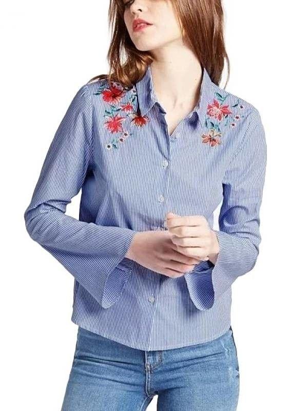 Camisa Feminina Manga Flare Bordada - Compre Online | DMS Boutique