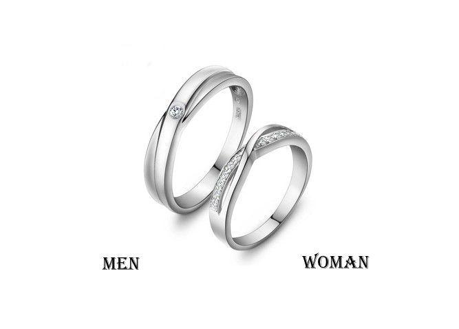 2 Rings Free Engraving Infinity Ring Wedding Band Couple