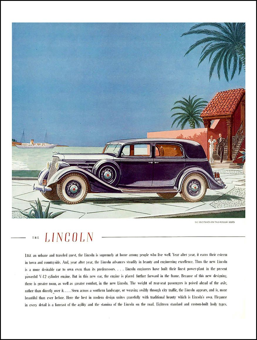 1935 Lincoln Ad Like An Urbane And Traveled Guest Early
