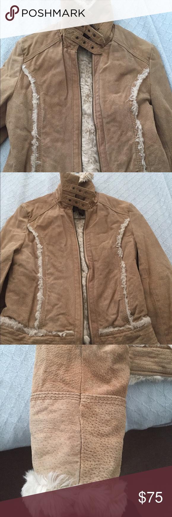 Wilson Leather suede fur lined women's jacket Size S pre