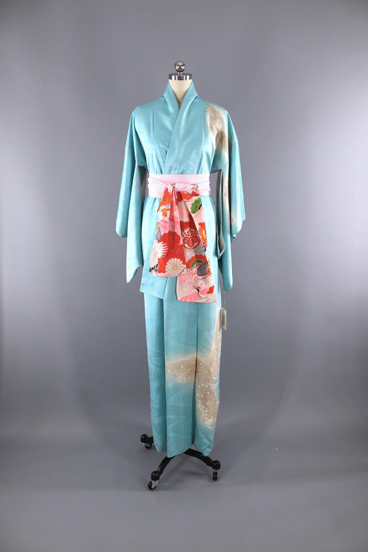 Vintage 1960s Silk Satin Kimono Robe   Aqua Blue Embroidered Butterflies   vintage  kimono  loungewear  lingerie  embroidery 2a4e761ca