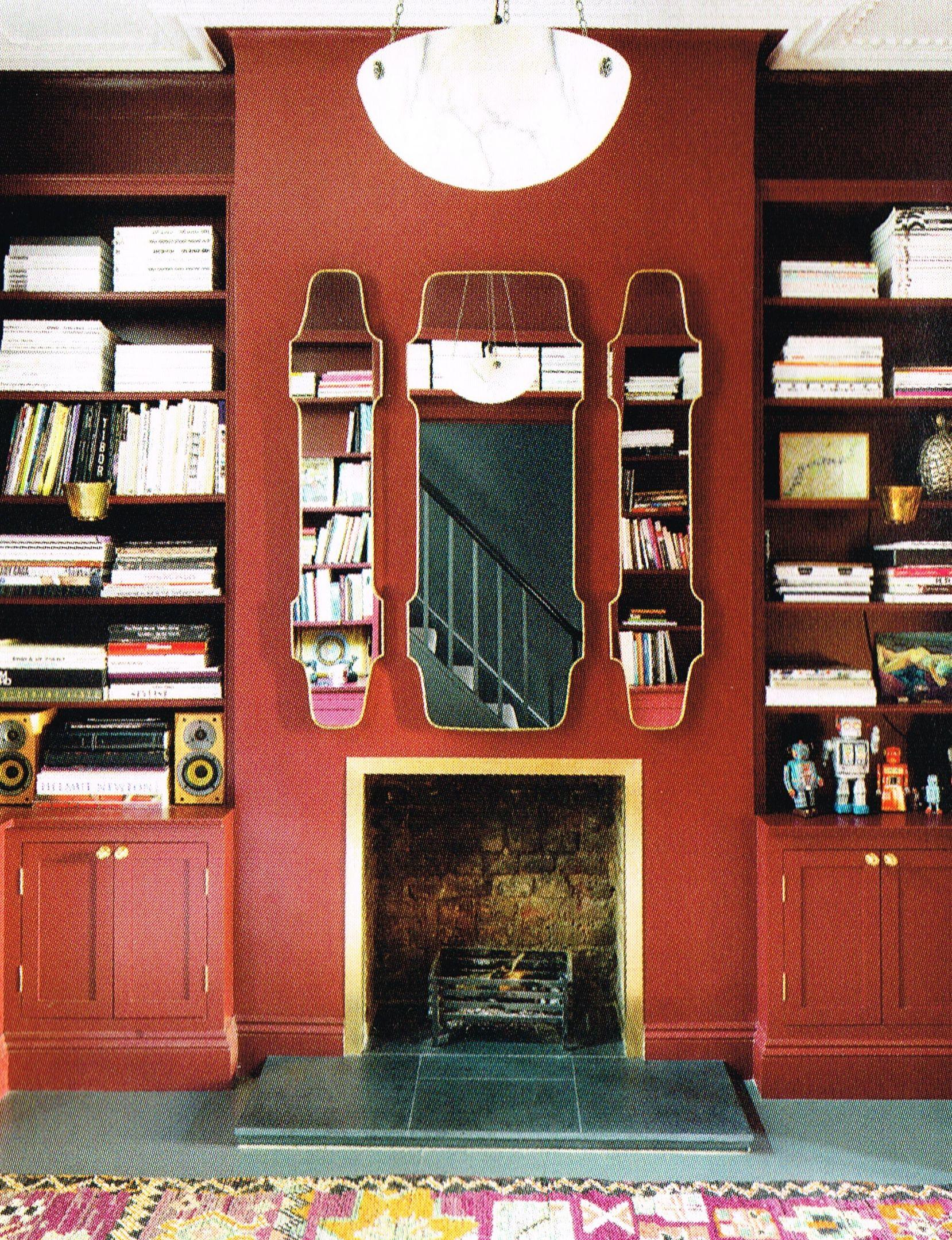 1840 Interior Design: Library In House In London, E9. Red Lacquer, Italian