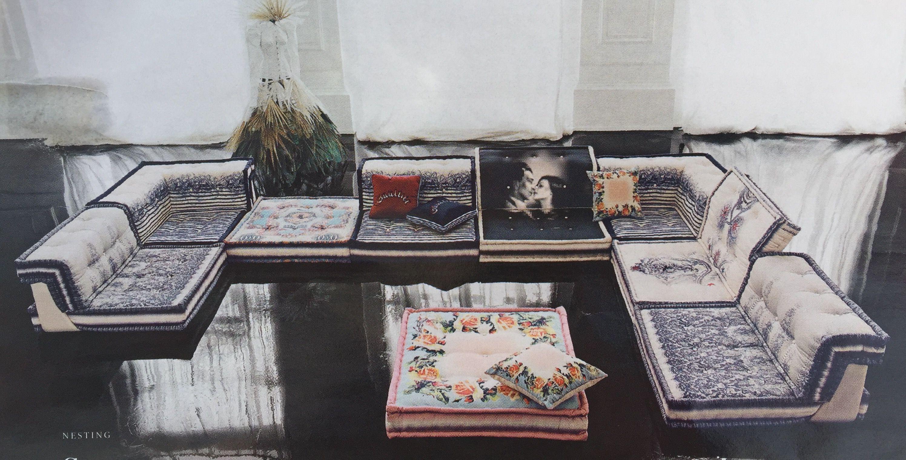 Roche Bobois Mah Jong Modular Sofa Upholstered In Couture Jean