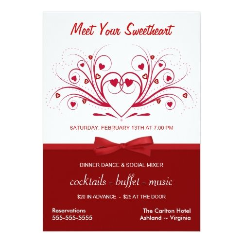 Valentine S Day Dinner Dance Business Style Invitation In 2018