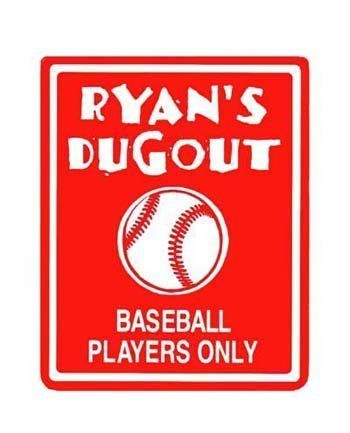 BASEBALL Red Bedroom Door SIGN, Personalized is part of Big bedroom Red - 8″ thick kid's room door sign is made of plastic and can be personalized with any name of your choice  In addition to the names, you can choose second line…