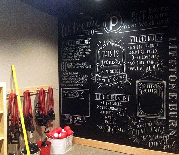 Pure barre chalkboard wall by clara cline via behance for Dulce coffee studio