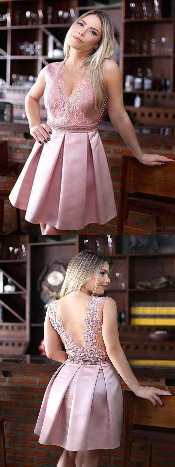 Pink vback aline lace homecoming dressesunique short prom dresses